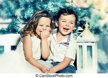 Happy kids - Couple of funny happy kids