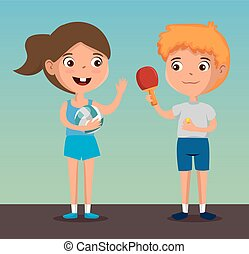 happy kids couple playing sports characters vector...