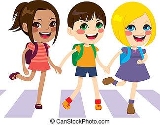 Happy Kids Crossing - Three cute happy little kids crossing ...