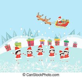 Happy Kids Decorating santa claus