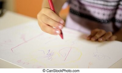 Happy kids drawing in kindergarten