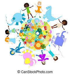happy kids - kids and planet; joyful illustration with...