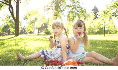 Happy kids eat strawberries. - Children and food outdoors