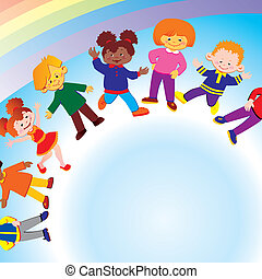 Happy kids. - Happy kids of different nationalities play...