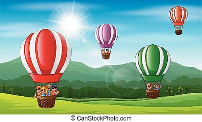 Happy kids flying in a hot air balloon