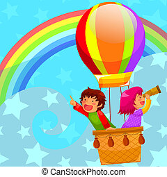 hot air balloon - happy kids flying in a hot air balloon
