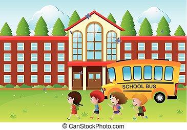 Happy kids going to school