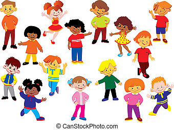 Happy kids of different nationalities play together. Vector art-illustration on a white background.