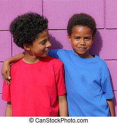 happy kids - happy little african descent black children