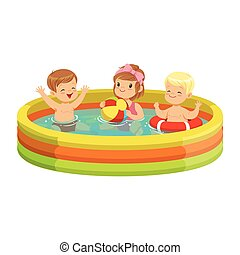 Happy kids having fun in inflatable swimming pool, colorful characters vector Illustration