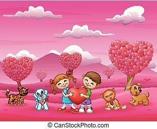 Happy kids holding a big heart with animal