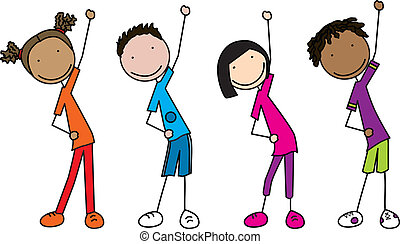 Happy kids - Illustration of four kids exercising