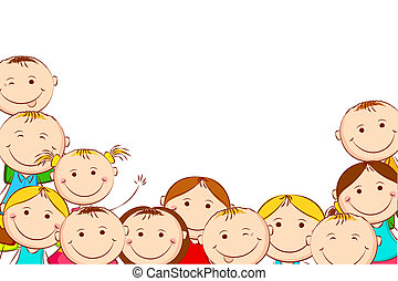 Happy Kids - illustration of happy kids on white background