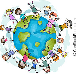 Illustration of Kids Happily Jumping around a Globe