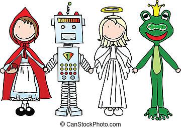 Happy kids - Kids holding hands in Halloween costumes (part...
