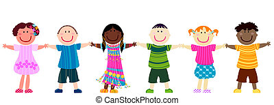 happy kids hand in hand
