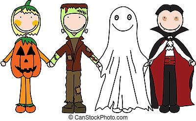 Happy kids - Kids holding hands in Halloween costumes