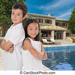 Happy kids in dream house