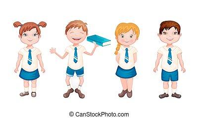 Happy kids in school uniform