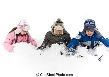 Happy Kids In Snow - Two smiling young brothers and their ...