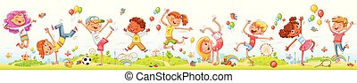 Happy kids jumping and dancing together on the entertainment amusement park
