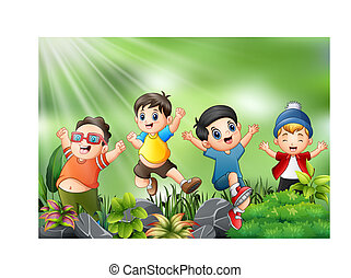 Happy kids jumping and laughing with the nature scene