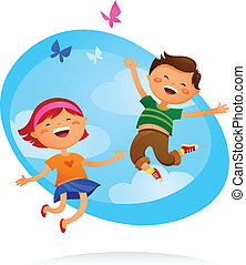 Happy kids jumping - Happy boy and girl jumping