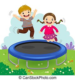 Happy kids jumping on trampoline in the backyard