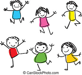 Vector drawing of smiling happy kids jumping around
