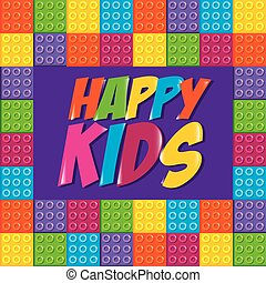happy kids label with toy bricks