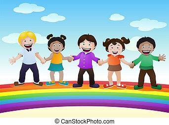 happy kids on top of rainbow bridge