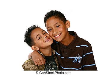 Happy Kids on White - Happy Healthy Latino Kids on White...