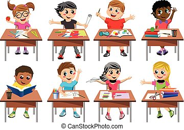 Happy kids or children sitting at desk school playing or...