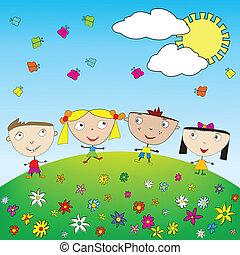 Happy kids outdoor