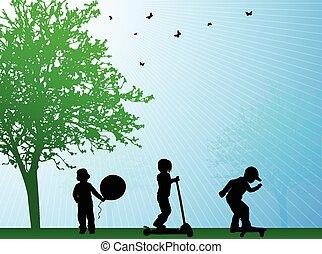 happy kids outdoors summer