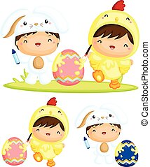 Happy Kids Painting Easter Egg