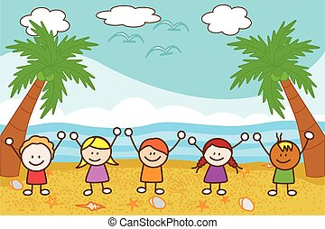 Happy kids playing at Beach
