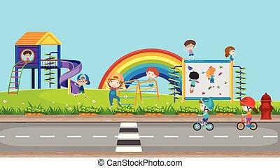 Happy Kids Playing at Playground