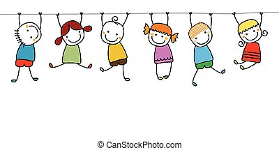 happy kids playing vector illustration search clipart drawings rh canstockphoto com Sad Clip Art Happy Clip Art Black and White