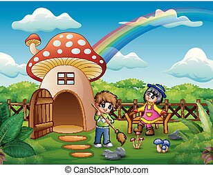 Happy Kids playing on the fantasy house