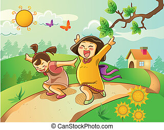 cartoon illustration of kids playing on the garden at summer holiday