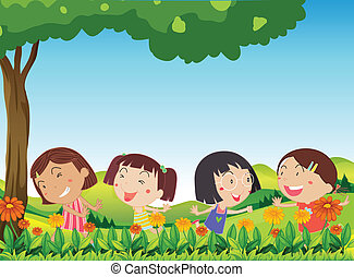Happy kids playing outdoor near the blooming flowers