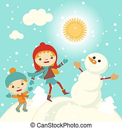 Happy kids playing with snow retro christmas card. Vector illustration.