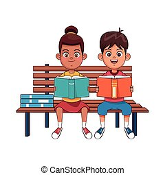 Happy kids reading books sitting on bench