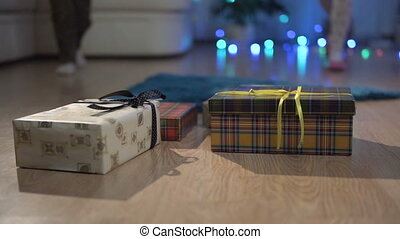 Happy Kids Recieve their Christmas Gift Boxes