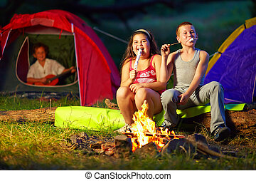 happy kids roasting marshmallows around campfire