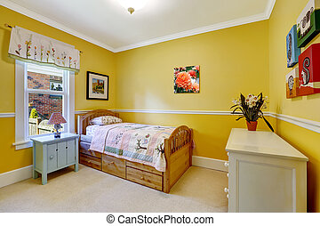 Happy kids room in bright yellow