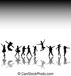 Happy kids silhouettes - Happy kids, hand drawn silhouettes...