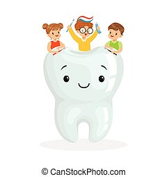 Happy kids sitting on a big smiling toorh cute cartoon characters vector Illustration