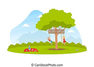 Happy Kids Swinging on Rope in Summer Park Vector Illustration